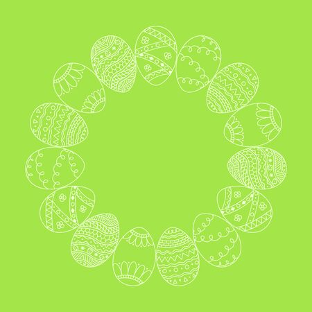 Vector round frame from white hand drawn  Easter eggs on green background. Easter invitation card