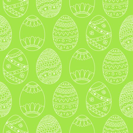 Vector seamless simple pattern with easter eggs. Easter holiday green background of ornamental eggs
