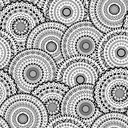 Vector seamless pattern of round abstract ethnic mandalas. Decorative background of circle mandala. Coloring page book anti stress for adult. Ilustração