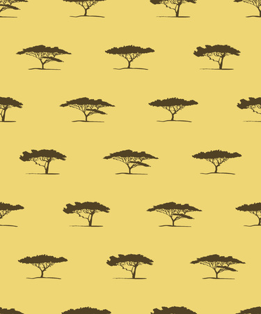 Vector seamless pattern of acacia tree silhouette. African tree acacia background