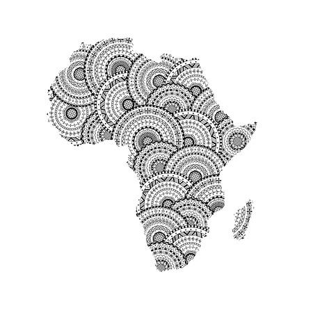 Silueta Del Vector Del Mapa De África Y Madagascar De Mandalas ...