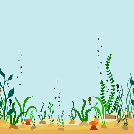 Vector seamless decorative border of cartoon seabed with seaweeds and seahorse
