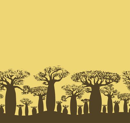 Vector decorative seamless border of sketch hand drawing baobab tree