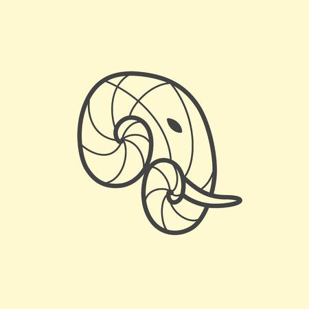 Vector Elephant head logo design. Line art elephant logotype