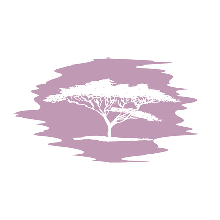 Hand drawing sketch of acacia tree logotype. Vector white acacia tree on blur background