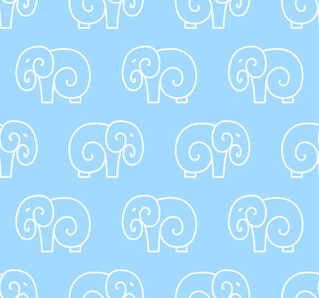 Vector seamless pattern of simple elephant. One line art design