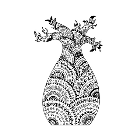 Vector baobab tree. Coloring page book in zentangle style