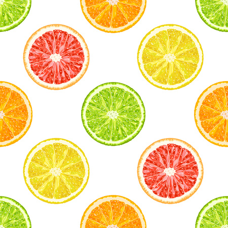 Vector seamless pattern from citrus slices. Orange, lemon, lime, grapefruit slices. Ilustracja