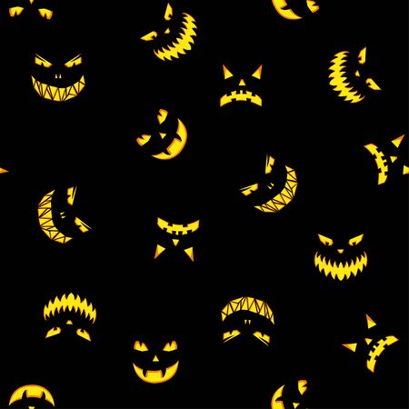 Seamless pattern with halloween pumpkins carved faces silhouettes on black background. Halloween background. Illustration