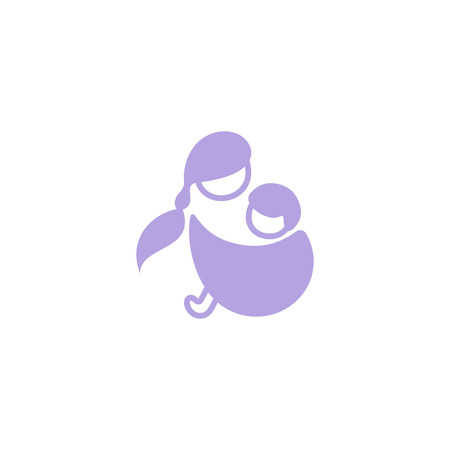 Vector logo mother with her baby in sling. Sling logotype
