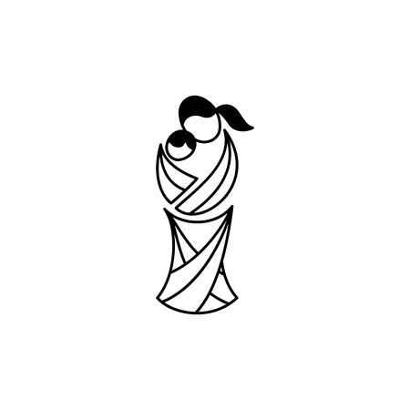 Vector Symbol Of Motherhood Illustration Of Mother With Her