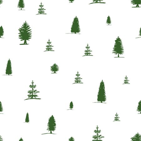 Vector seamless pattern from hand drawing sketch green tree - pine, fir tree, cypress on white background