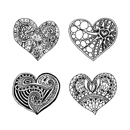 Vector Set Of Four Doodle Hand Drawn Hearts Black And White Coloring Page