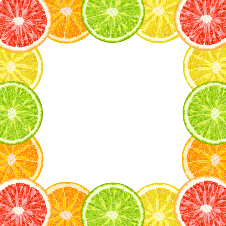 Vector decorative frame from citrus slices - lime, grapefruit, lemon, orange