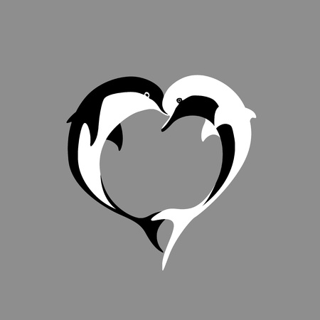 Vector silhouette of two black and white dolphin couple in love with shape heart. Greeting card illustration Ilustracja