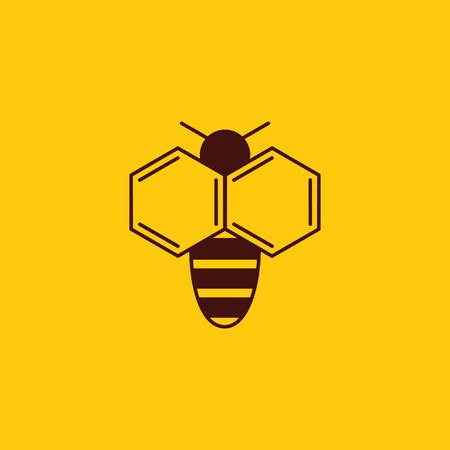 Vector illustration of bee on yellow background. Ilustração