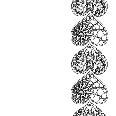 Vector decorative vertical border from black hand drawing hearts on white background. Coloring page book border from doodle hearts. Anti stress for adult