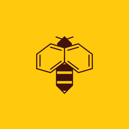 Vector illustration of bee logo on honey background. Bee logotype