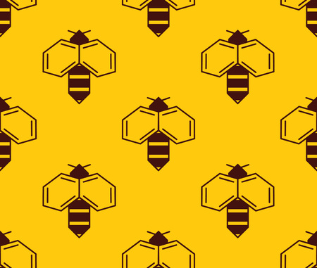 Vector seamless pattern of bee logo on honey background. Simple bee logotype