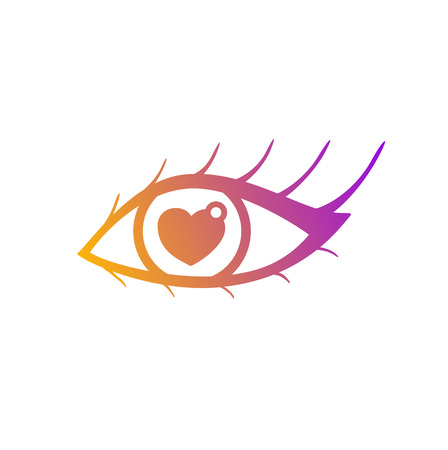 Vector illustration of eye with pupil in shape of heart. Symbol of love for saint Valentine day