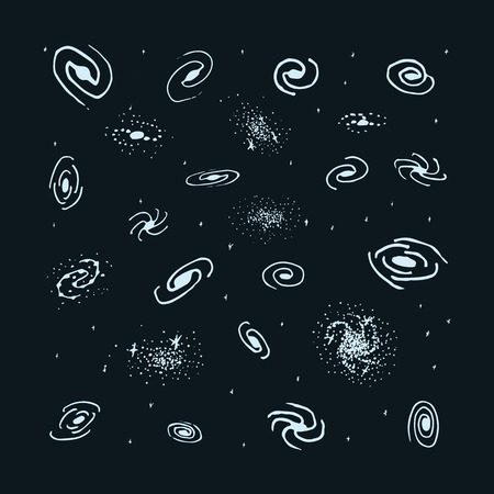 Vector set of hand drawn galaxy. Spiral galaxy, elliptical galaxy, lenticular and irregular nebula. Space sign