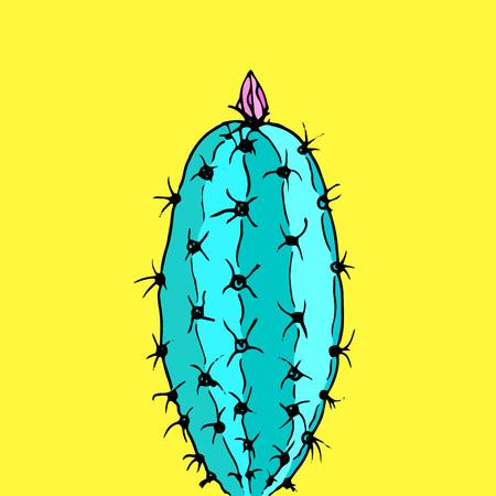 Vector cactus on yellow background. Minimal fashion trendy design Illustration
