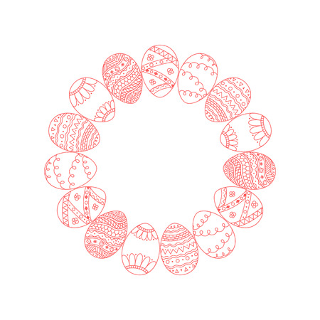 Round vector frame from red doodle Easter eggs on white background, Easter holiday template.