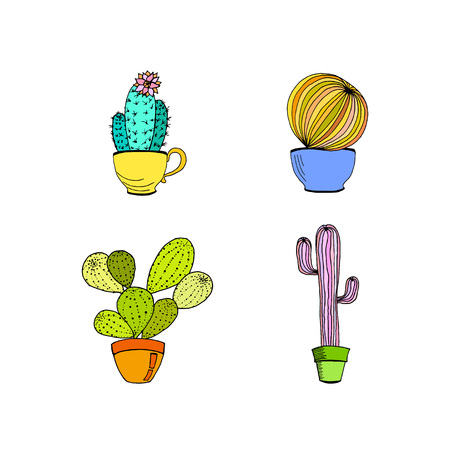Vector set of hand drawn cactus in pot. Cartoon cactus.