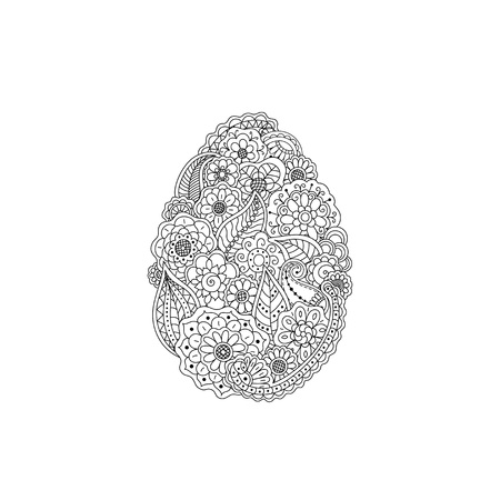 Vector illustration of Easter egg from floral doodle element Иллюстрация