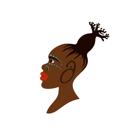 Vector portrait of African woman with traditional hairstyle in baobab tree shape and war-paint makeup. Baobab concept Vettoriali