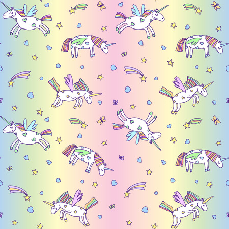 Vector illustration of seamless pattern from cute unicorns on pastel rainbow background. Cartoon Pegasus texture