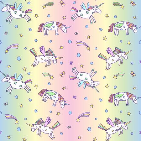 Vector illustration of seamless pattern from cute unicorns on pastel rainbow background. Cartoon Pegasus texture