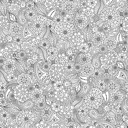 Seamless pattern of doodle floral elements,floral coloring page book background anti-stress for adult.