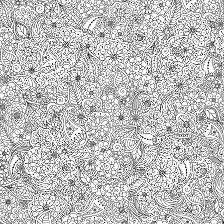 Nahtloses Muster von Gekritzelblumenelementen, Blumenmalbuchbuchhintergrund-Anti-Stress für Erwachsene.
