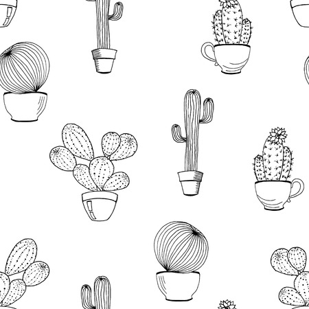 Vector cactus flower background. Seamless pattern with cactus in pot. Cartoon hand drawn cactus. Coloring page book