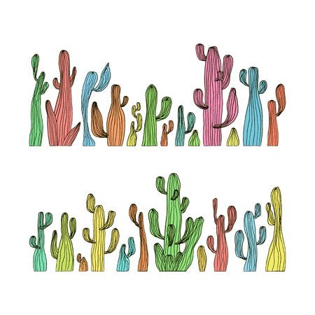 Vector illustration of saguaro cactus. Color cactus set Ilustração