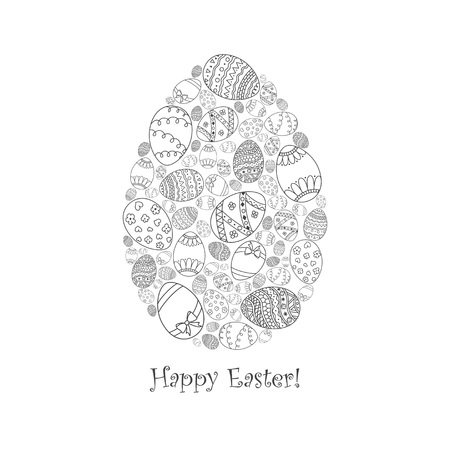 Vector Easter invitation card of egg shape from doodle Easter egg with Happy Easter text lettering. Easter coloring page book.