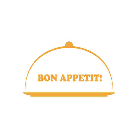 Vector lettered phrase Bon appetit with platter. Concept of yummy dinner or catering.  Menu logo  イラスト・ベクター素材
