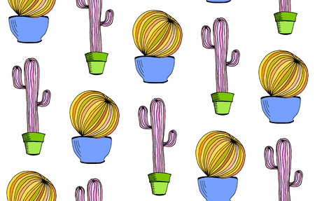 Vector cactus background. Seamless pattern with cactus in pot. Cartoon hand drawn cactus on white background