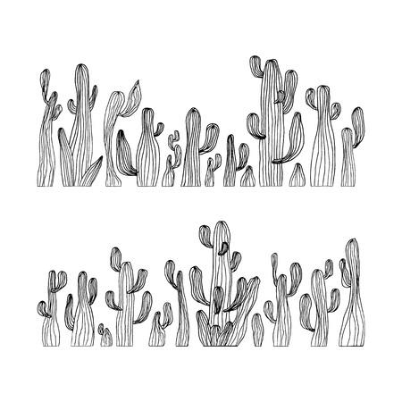 Vector illustration of saguaro cactus. Hand drawn cactus set