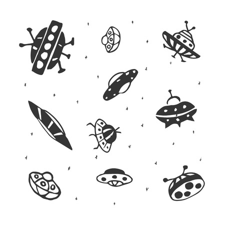 Vector set of hand drawing UFO Flying Saucer