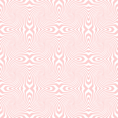 Vector sunburst seamless pattern with swirl and geometric wave. Abstract pink seamless pattern on white background Illustration