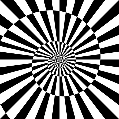Vector sunburst black white background with infinity spiral.