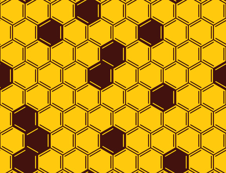 Vector honeycomb seamless pattern on yellow background