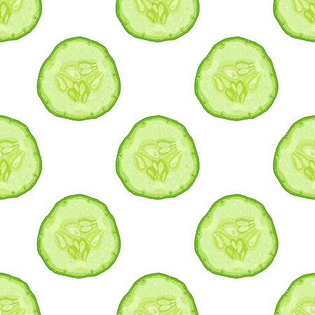 Vector seamless pattern of cucumber slice on white background  イラスト・ベクター素材