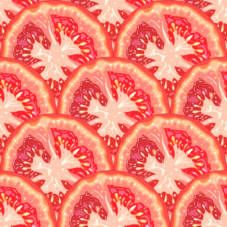 Vector seamless pattern of tomato slices on white background Illustration