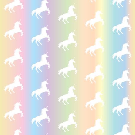 Vector illustration of seamless pattern from white unicorns silhouette on pastel rainbow background. Unicorn texture