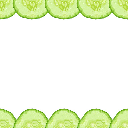Vector decorative border of cucumber slice on white background