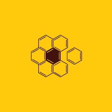 Vector honey comb and beekeeping logo design. Flower chamomile from chemical formulas in honeycomb shape