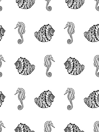 Vector seamless pattern of sketch black seashell and seahorse on white background. Coloring page book of sea shell and seahorse